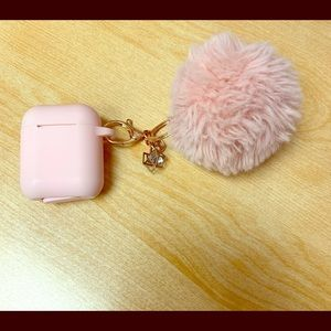 Accessories - Rose Pink AirPod Case with Fur Ball